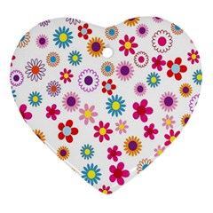 Colorful Floral Flowers Pattern Ornament (Heart)