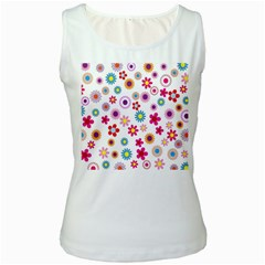 Colorful Floral Flowers Pattern Women s White Tank Top