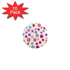 Colorful Floral Flowers Pattern 1  Mini Magnet (10 Pack)