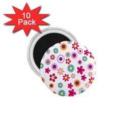 Colorful Floral Flowers Pattern 1 75  Magnets (10 Pack)