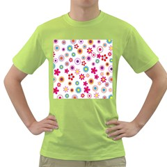 Colorful Floral Flowers Pattern Green T-Shirt