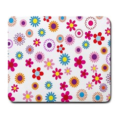 Colorful Floral Flowers Pattern Large Mousepads