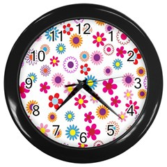Colorful Floral Flowers Pattern Wall Clocks (Black)