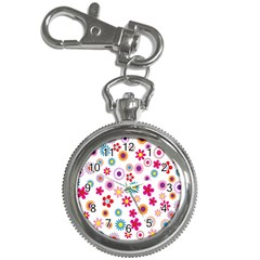 Colorful Floral Flowers Pattern Key Chain Watches
