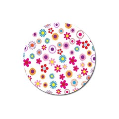 Colorful Floral Flowers Pattern Magnet 3  (Round)