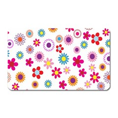 Colorful Floral Flowers Pattern Magnet (rectangular)