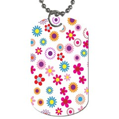 Colorful Floral Flowers Pattern Dog Tag (one Side)