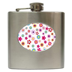 Colorful Floral Flowers Pattern Hip Flask (6 oz)