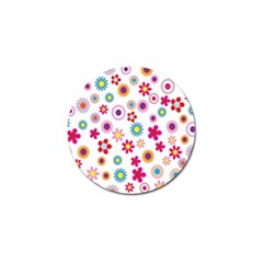Colorful Floral Flowers Pattern Golf Ball Marker