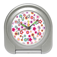 Colorful Floral Flowers Pattern Travel Alarm Clocks