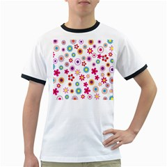 Colorful Floral Flowers Pattern Ringer T Shirts