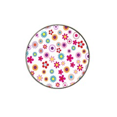 Colorful Floral Flowers Pattern Hat Clip Ball Marker (10 Pack)