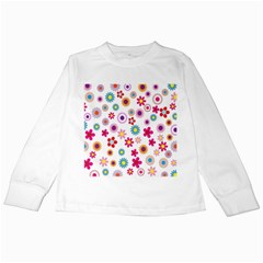 Colorful Floral Flowers Pattern Kids Long Sleeve T-Shirts