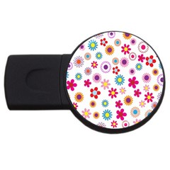Colorful Floral Flowers Pattern Usb Flash Drive Round (4 Gb)