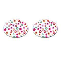 Colorful Floral Flowers Pattern Cufflinks (Oval)