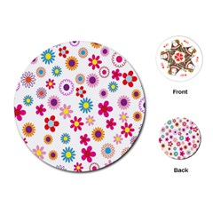 Colorful Floral Flowers Pattern Playing Cards (Round)