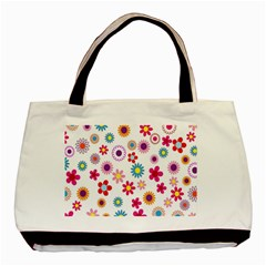 Colorful Floral Flowers Pattern Basic Tote Bag
