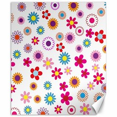 Colorful Floral Flowers Pattern Canvas 8  x 10