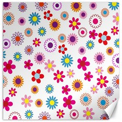 Colorful Floral Flowers Pattern Canvas 12  x 12