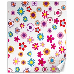 Colorful Floral Flowers Pattern Canvas 16  x 20