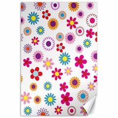 Colorful Floral Flowers Pattern Canvas 24  X 36