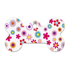 Colorful Floral Flowers Pattern Dog Tag Bone (two Sides)