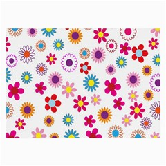 Colorful Floral Flowers Pattern Large Glasses Cloth (2-Side)
