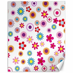 Colorful Floral Flowers Pattern Canvas 11  X 14