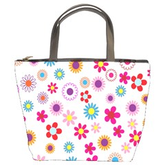 Colorful Floral Flowers Pattern Bucket Bags