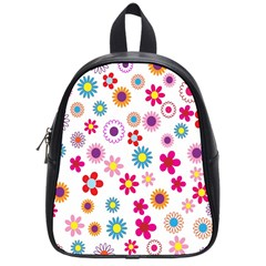 Colorful Floral Flowers Pattern School Bags (small)