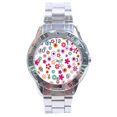 Colorful Floral Flowers Pattern Stainless Steel Analogue Watch