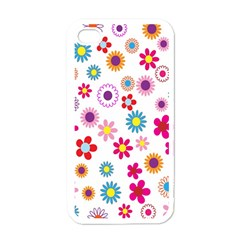 Colorful Floral Flowers Pattern Apple Iphone 4 Case (white)