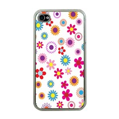 Colorful Floral Flowers Pattern Apple Iphone 4 Case (clear)