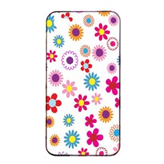 Colorful Floral Flowers Pattern Apple iPhone 4/4s Seamless Case (Black)