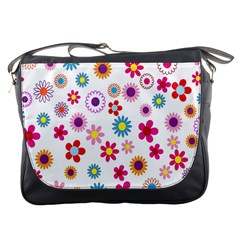 Colorful Floral Flowers Pattern Messenger Bags