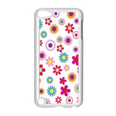 Colorful Floral Flowers Pattern Apple iPod Touch 5 Case (White)