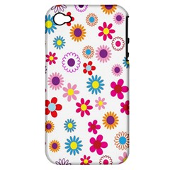 Colorful Floral Flowers Pattern Apple iPhone 4/4S Hardshell Case (PC+Silicone)