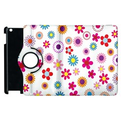 Colorful Floral Flowers Pattern Apple iPad 3/4 Flip 360 Case