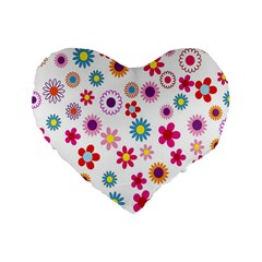 Colorful Floral Flowers Pattern Standard 16  Premium Heart Shape Cushions