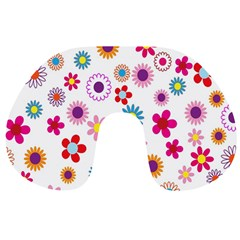 Colorful Floral Flowers Pattern Travel Neck Pillows