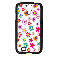 Colorful Floral Flowers Pattern Samsung Galaxy S4 I9500/ I9505 Case (Black)