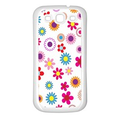 Colorful Floral Flowers Pattern Samsung Galaxy S3 Back Case (White)