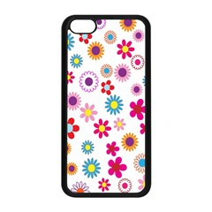 Colorful Floral Flowers Pattern Apple iPhone 5C Seamless Case (Black)
