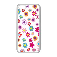 Colorful Floral Flowers Pattern Apple iPhone 5C Seamless Case (White)