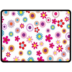 Colorful Floral Flowers Pattern Double Sided Fleece Blanket (large)