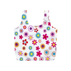 Colorful Floral Flowers Pattern Full Print Recycle Bags (S)