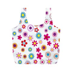 Colorful Floral Flowers Pattern Full Print Recycle Bags (M)