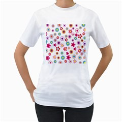 Colorful Floral Flowers Pattern Women s T Shirt (white)