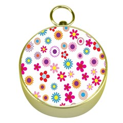 Colorful Floral Flowers Pattern Gold Compasses