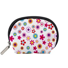 Colorful Floral Flowers Pattern Accessory Pouches (Small)